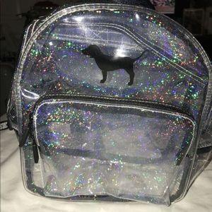 🆕Victoria's Secret PINK clear glitter backpack